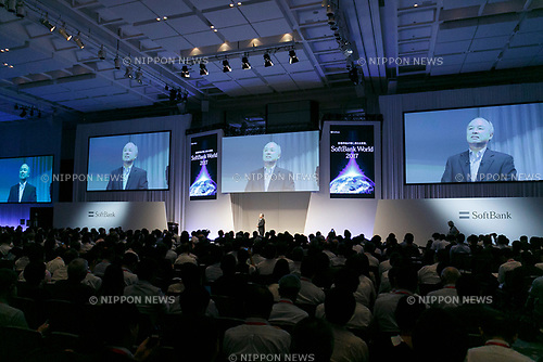 Masayoshi Son, Chairman and CEO of SoftBank, speaks during the SoftBank World 2017 conference on July 20, 2017, Tokyo, Japan. Son introduced company's new partners in developing artificial intelligence technology in various fields including transportation, communications and robotics. (Photo by Rodrigo Reyes Marin/AFLO)