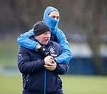 Bilel Mohsni gives his under-fire manager Ally McCoist a supportive hug at training