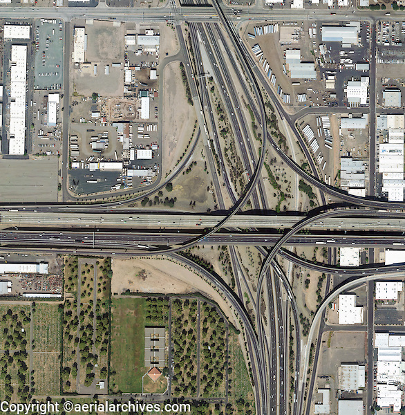 aerial photo map of interstate I-10 and I-17 interchange, Central Industrial District, Phoenix, Arizona