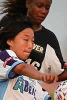 Sun Wen of the Atlanta Beat controls a throw in against Tammy Pearman of the New York Power during their June 9th game at Mitchel Athletic Complex. The Beat won 2-0.