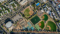 Aerial view of the fields and sports fields and gimmacio of the University of Sonora. The Unison mile. Hermosillo, Sonora. Baseball fields, synthetic grass, soccer fields.School of Medicine of UNISON.<br /> (Photo: Luis Gutierrez / NortePhoto.com)<br /> <br /> Vista aerea las canchas y campos deportivos y gimmacio de la Universidad de Sonora. La milla de la Unison. Hermosillo, Sonora. Campos de beisbol, pasto sintetico, canchas de futbol.  Escuela de Medicina de la UNISON. <br /> (Photo: Luis Gutierrez/NortePhoto.com)