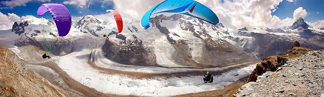 Paragliders over the Gornergletscher  glacier above Zermatt Switzerland