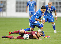 Venezuela midfielder Angel Flores (6) gets fouled by EL Salvador midfielder Jaime Alas (16). El Salvador National Team defeated Venezuela 3-2 in an international friendly at RFK Stadium, Sunday August 7, 2011.