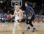 SIOUX FALLS, SD: MARCH 5: Madison Guebert #11 from South Dakota State University drives against Lakota Beatty #11 from Oral Roberts during the Summit League Basketball Championship on March 5, 2017 at the Denny Sanford Premier Center in Sioux Falls, SD. (Photo by Dave Eggen/Inertia)