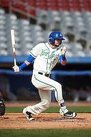 Hartford Yard Goats right fielder David Dahl (1) at bat during the first game of a doubleheader against the Trenton Thunder on June 1, 2016 at Sen. Thomas J. Dodd Memorial Stadium in Norwich, Connecticut.  Trenton defeated Hartford 4-2.  (Mike Janes/Four Seam Images)