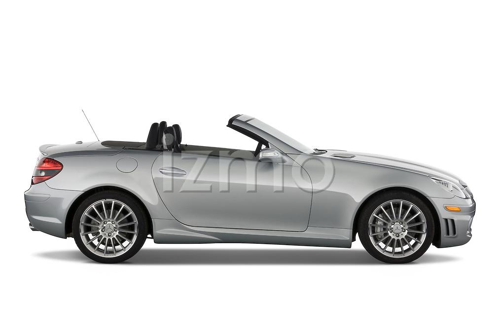 Profile passenger side view of a Mercedes Benz SLK Class sports car