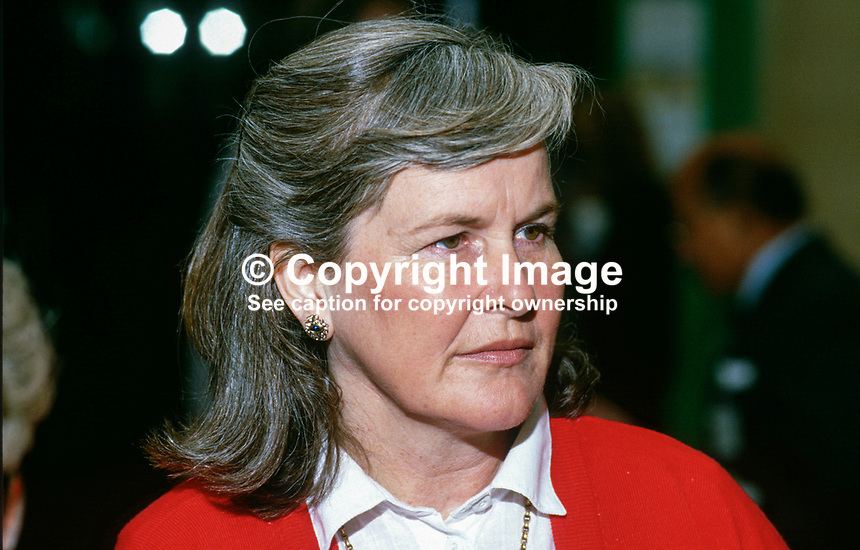 Gillian Waddington, wife of David Waddington, MP, Conservative Party, UK, 19871017GW2..Copyright Image from Victor Patterson, 54 Dorchester Park, Belfast, UK, BT9 6RJ..Tel: +44 28 9066 1296.Mob: +44 7802 353836.Voicemail +44 20 8816 7153.Skype: victorpattersonbelfast.Email: victorpatterson@me.com.Email: victorpatterson@ireland.com (back-up)..IMPORTANT: If you wish to use this image or any other of my images please go to www.victorpatterson.com and click on the Terms & Conditions. Then contact me by email or phone with the reference number(s) of the image(s) concerned.
