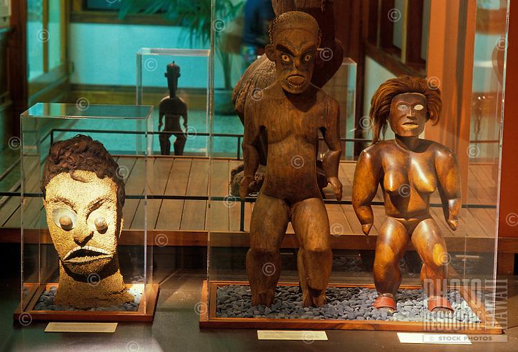 Tiki figures on display at Bishop Museum, Honolulu