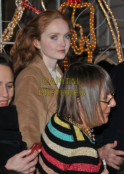 Lily Cole &amp; Hilary Alexander attend the Stella McCartney 2015 Christmas Lights switch on party, Stella McCartney boutique, Bruton Street, London, England, UK, on Wednesday 25 November 2015.<br /> CAP/CAN<br /> &copy;CAN/Capital Pictures