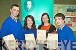 At the Edmund Rice Awards at the IT Tralee on Thursday were students from Milltown Secondart School Derwin Myers, Helina Hogan, Margaret O'Sullivan (Teacher) and Stephen Dennehy.