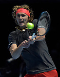 London UK 12th November 2018 Nitto ATP World Tour Finals at 02 Arena London UK Alexander Zverev GER Vs Marin Cilic CRO. Zverev in action during the match