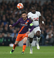 Manchester City's David Silva and Tottenham Hotspur's Moussa Sissoko<br /> <br /> Photographer Rob Newell/CameraSport<br /> <br /> UEFA Champions League Quarter-finals 1st Leg - Tottenham Hotspur v Manchester City - Tuesday 9th April 2019 - White Hart Lane - London<br />  <br /> World Copyright © 2018 CameraSport. All rights reserved. 43 Linden Ave. Countesthorpe. Leicester. England. LE8 5PG - Tel: +44 (0) 116 277 4147 - admin@camerasport.com - www.camerasport.com