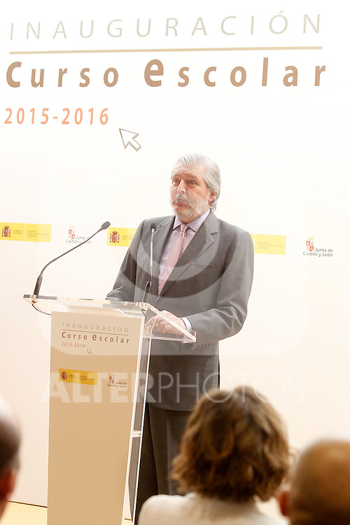 Inigo Mendez de Vigo, Minister of Education, Culture and Sports of the Government of Spain, attends the opening of 2015-2016 scholarship course at 'Marques de Santillana' school on September 21, 2015 in Palencia, Spain. September 21,2015. (ALTERPHOTOS/Acero)