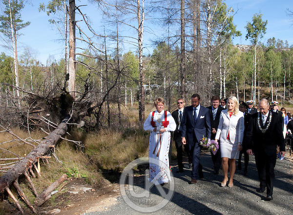 Crown Prince Haakon and Crown Princess Mette-Marit of Norway visit Mykland Forest in Froland  during a  three day visit, to the county of Aust-Agder in Southern Norway