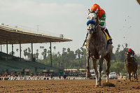 ARCADIA, CA FEBRUARY 10:  #4 Unique Bella, ridden by Mike Smith, wins the Santa Maria Stakes (Grade ll) on February 10, 2018 at Santa Anita Park in Arcadia, CA.(Photo by Casey Phillips/ Eclipse Sportswire/ Getty Images)