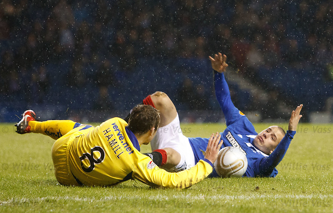 Vladimir Weiss brought down in the box by Jamie Hamill for a penalty