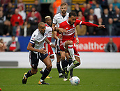 9th September 2017, Macron Stadium, Bolton, England; EFL Championship football, Bolton Wanderers versus Middlesbrough; Dael Fry of Middlesbrough holds off the challenge of Bolton skipper Darren Pratley