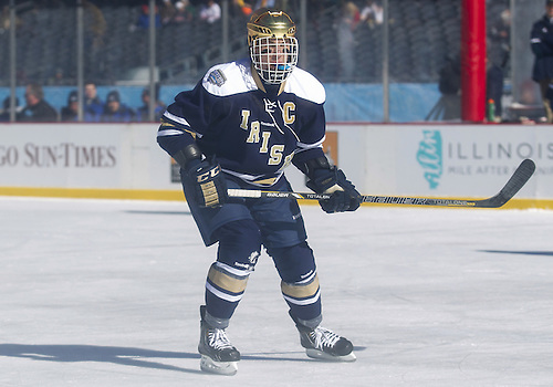 February 17, 2013:  Notre Dame center Anders Lee (9) during NCAA Hockey game action between the Notre Dame Fighting Irish and the Miami Redhawks at Soldier Field in Chicago, Illinois.  Notre Dame defeated Miami 2-1.