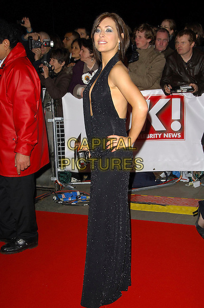 JENNIFER BIDDALL.The National Television Awards, Royal Albert Hall, London, England. .October 31st, 2007 .TV NTA full length black dress halterneck hand on hip.CAP/CAS.©Bob Cass/Capital Pictures.