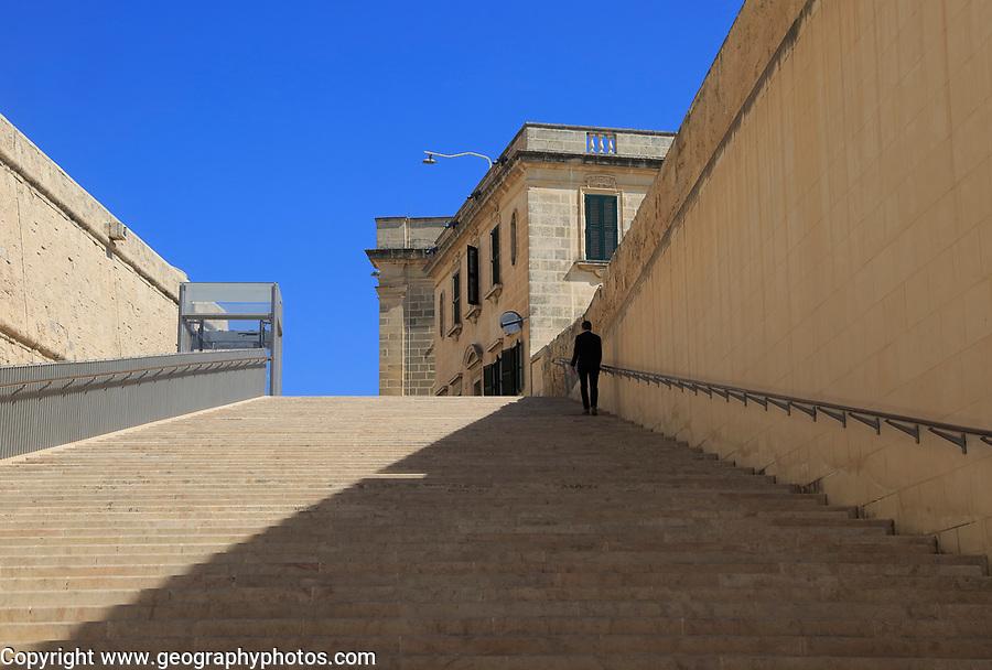 Flight of steps in City Gate redevelopment designed by Renzo Piano, Valletta, Malta