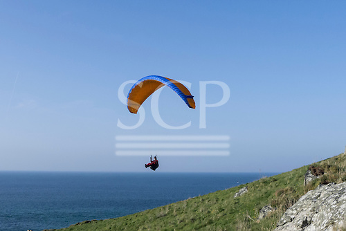 St Ives, Cornwall, England. Paraglider by the sea.