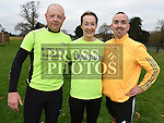 John Smith, Aimee Shammas and Robert Kieranswho ran with Stephen Geraghty on the last leg of  his challenge to run six Kilometers every day in 2016. Photo:Colin Bell/pressphotos.ie