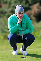 Caolan Rafferty from Ireland on the 11th green after Round 1 Foursomes of the Men's Home Internationals 2018 at Conwy Golf Club, Conwy, Wales on Wednesday 12th September 2018.<br /> Picture: Thos Caffrey / Golffile<br /> <br /> All photo usage must carry mandatory copyright credit (© Golffile | Thos Caffrey)
