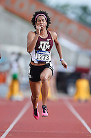 Olivia Ekpone of Texas A&M competes in 100 meter prelims during West Preliminary Track and Field Championships, Friday, May 29, 2015 in Austin, Tex. (Mo Khursheed/TFV Media via AP Images)