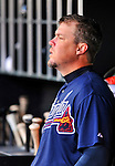 2 April 2011: Atlanta Braves third baseman Chipper Jones sits in the dugout during a game against the Washington Nationals at Nationals Park in Washington, District of Columbia. The Nationals defeated the Braves 6-3 in the second game of their season opening series. Mandatory Credit: Ed Wolfstein Photo