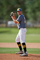 Levi Kelly (25) while playing for 5 Star National based out of Warner Robins, Georgia during the WWBA World Championship at the Roger Dean Complex on October 19, 2017 in Jupiter, Florida.  Levi Kelly is pitcher / outfielder from Cape Coral, Florida who attends Bishop Verot High School.  (Mike Janes/Four Seam Images)