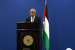 Palestinian Prime Minister Salam Fayyad addresses the media during a news conference in the West Bank city of Ramallah September 11, 2012. Demonstrations against the rising cost of living turned violent in the cities of Hebron and Nablus on Monday as thousands of angry youths burned tyres, blocked streets and hurled stones at armed police, raising pressure on Fayyad. Photo by Issam Rimawi