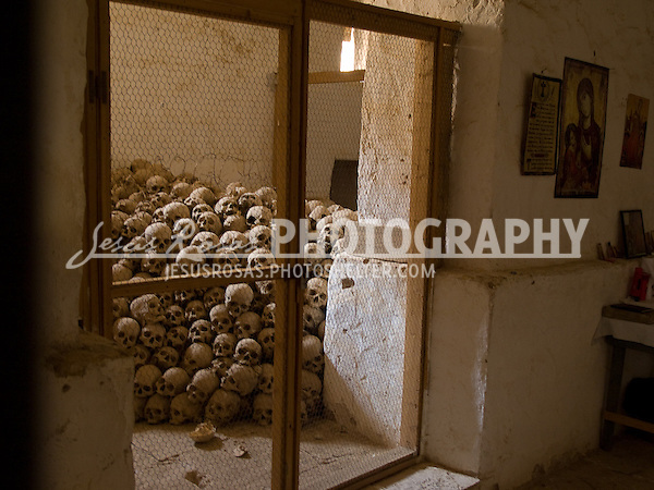 The Chapel of St. Triphone at Saint Katherine in the Sinai Peninsula, Egypt holds the skulls of deceased monks.