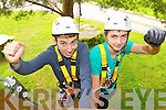 Fionan O'Donoghue Glenflesk (left) who received 9 A's in the junior Cert celebrated with Philip O'Donoghue Glenflesk and his St Brendan's College class mates by going rope climbing in Aghaoe on Wednesday