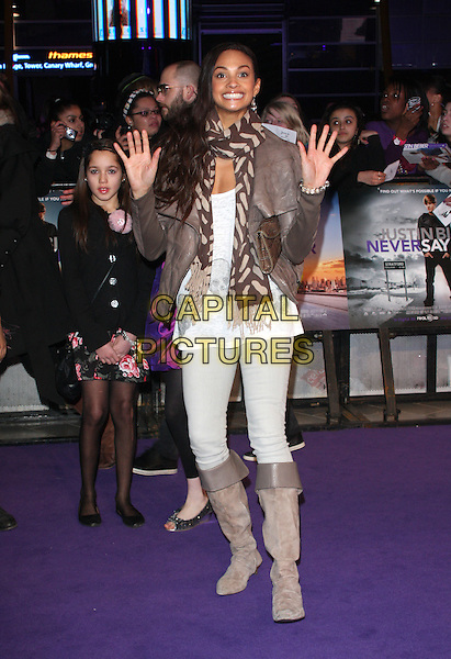 ALESHA DIXON.The UK Premiere of Justin Bieber: Never Say Never, Cineworld, 02 Arena, London, England..February 16th, 2011.full length beige brown leather jacket jeans denim grey gray scarf stripe boots hands palms smiling.CAP/ROS.©Steve Ross/Capital Pictures.