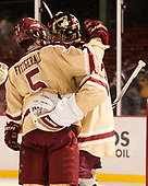 Casey Fitzgerald (BC - 5), Joe Woll (BC - 31) - The Boston College Eagles defeated the Providence College Friars 3-1 (EN) on Sunday, January 8, 2017, at Fenway Park in Boston, Massachusetts.The Boston College Eagles defeated the Providence College Friars 3-1 (EN) on Sunday, January 8, 2017, at Fenway Park.