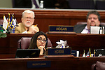 Nevada Assemblywoman Lucy Florest, D- Las Vegas, watches votes tally on the Assembly floor during a special Legislative session in Carson City, Nev., on Tuesday, June 4, 2013. (AP PhotoCathleen Allison)