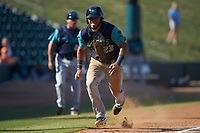 Jonathan Laureano (23) of the Lynchburg Hillcats hustles towards home plate against the Winston-Salem Rayados at BB&T Ballpark on June 23, 2019 in Winston-Salem, North Carolina. The Hillcats defeated the Rayados 12-9 in 11 innings. (Brian Westerholt/Four Seam Images)