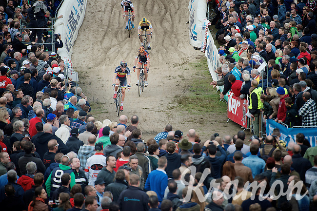 """Sven Nys (BEL/Crelan-AAdrinks) at the bottom of """"The Pit""""<br /> <br /> GP Zonhoven 2014"""
