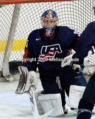 Brandon Maxwell (US Blue - 35) - Team White defeated Team Blue 2-1 in their second scrimmage of the 2009 USA Hockey National Junior Evaluation Camp on Saturday, August 8, 2009, in the USA (NHL-sized) Rink in Lake Placid, New York.