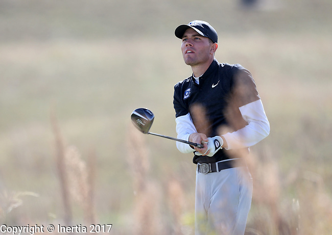 VALENTINE, NE - OCTOBER 3: Trey Petitt from Creighton watches his tee shot on the 6th hole during the final round of the South Dakota State Invitational Tuesday at The Prairie Club in Valentine, NE. (Photo by Dave Eggen/Inertia)