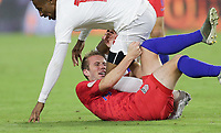 ORLANDO, FL - NOVEMBER 15: Jackson Yueill #14 of the United States gets crushed during a game between Canada and USMNT at Exploria Stadium on November 15, 2019 in Orlando, Florida.