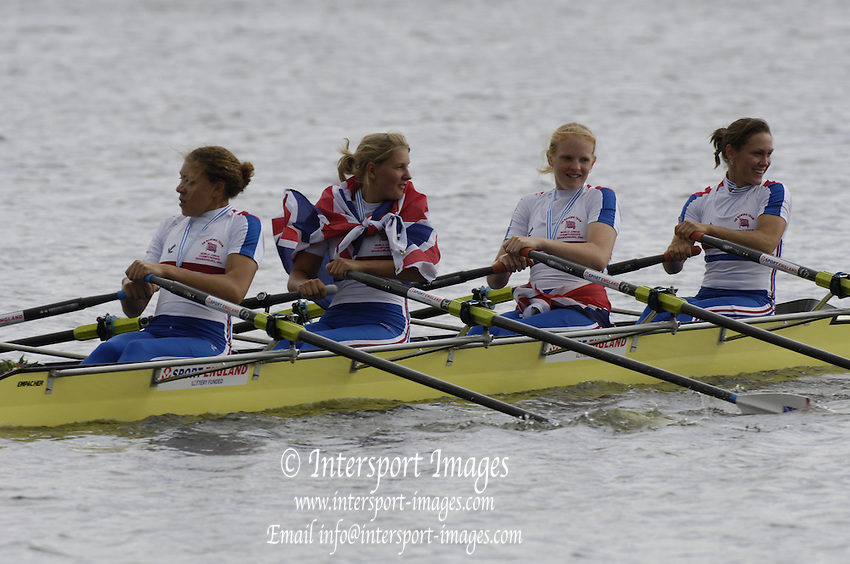 2005 FISA Junior  World Rowing Championships, Brandenburg, GERMANY. Saturday Finals. A final GBR JW4X Fern Cotterill, Jacqueline Round, Kristina Stiller and Francesca Ju-Burke. 06.08.2005.  © Peter Spurrier/Intersport Images - email images@intersport-images..[Mandatory Credit Peter Spurrier/ Intersport Images] Rowing Course: Brandenburg, Havel Rowing Course, Brandenburg, GERMANY