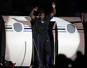 "Tyler Thornton dances as he enters the court. Duke men's basketball had an opening scrimmage game as a part of the ""Countdown to Craziness"" event at Cameron Indoor Stadium Friday Oct. 14, 2011.  Photo by Al Drago..."