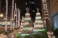 Holiday lights and decorations brighten downtown Honolulu, O'ahu.