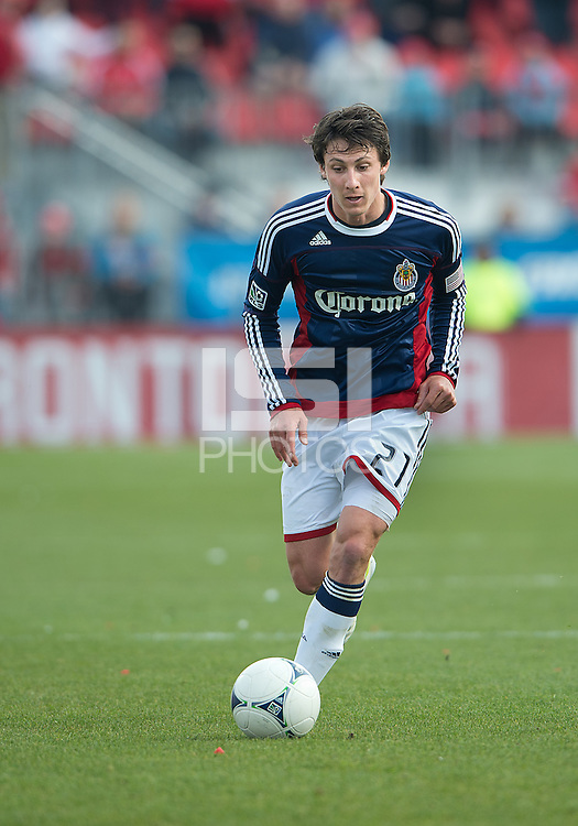 14 April 2012: Chivas USA midfielder Ben Zemanski #21 in action during a game between Chivas USA and Toronto FC at BMO Field in Toronto..Chivas USA won 1-0.