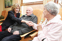 "NO REPRO FEE. 21/11/2011. New Alzheimer Day Centre at full capacity as demand for Alzheimer services grow. Minister for Social Protection Joan Burton T.D. officially opened ""Failte Day Centre"", which will provide dementia-specific, person-centred care to people with dementia and their carers in Hartstown, Clonsilla. The Minister is pictured with client Con Hegarty and wife Peggie Hegarty from Castleknock. The Alzheimer Society of Ireland, in partnership with the HSE, is currently operating 3 days a week caring for clients living with dementia who live in Castleknock. Picture James Horan/Collins Photos"