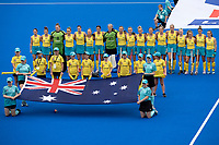 2nd February 2020; Sydney Olympic Park, Sydney, New South Wales, Australia; Womens International FIH Field Hockey, Australia versus Great Britain Women; Australia line up for their national anthem
