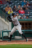 Quad Cities River Bandits second baseman Trey Dawson (3) during a Midwest League game against the Fort Wayne TinCaps at Parkview Field on May 3, 2019 in Fort Wayne, Indiana. Quad Cities defeated Fort Wayne 4-3. (Zachary Lucy/Four Seam Images)