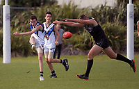 Action from the international academy AFL match between NZ Academy Level 1 and Mornington Peninsula Bluescope Steelers Under-14 at Hutt Park in Wellington, New Zealand on Tuesday, 24 April 2018. Photo: Dave Lintott / lintottphoto.co.nz