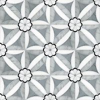 Edie, a waterjet stone mosaic, shown in Nero, Bardiglio, Thassos, and Carrara, is part of the Silk Road Collection by Sara Baldwin for New Ravenna Mosaics. <br />